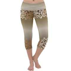 Floral Decoration Capri Yoga Leggings by Sapixe