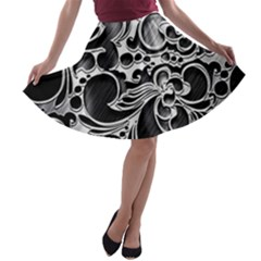 Floral High Contrast Pattern A Line Skater Skirt by Sapixe