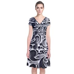 Floral High Contrast Pattern Short Sleeve Front Wrap Dress by Sapixe
