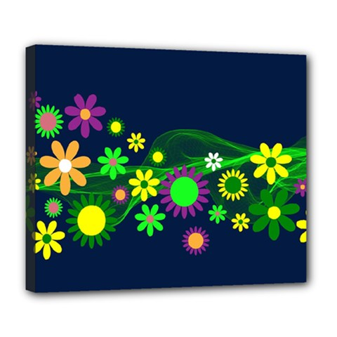 Flower Power Flowers Ornament Deluxe Canvas 24  X 20   by Sapixe