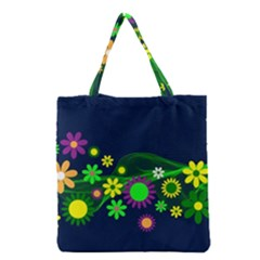 Flower Power Flowers Ornament Grocery Tote Bag by Sapixe