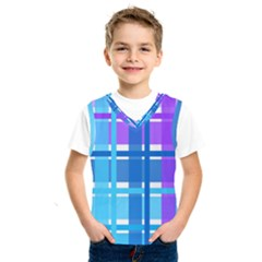 Gingham Pattern Blue Purple Shades Kids  Sportswear by Sapixe