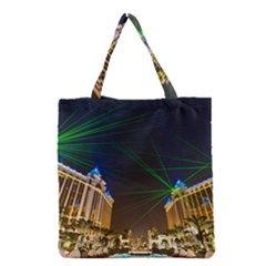 Galaxy Hotel Macau Cotai Laser Beams At Night Grocery Tote Bag by Sapixe