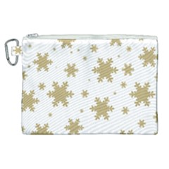 Gold Snow Flakes Snow Flake Pattern Canvas Cosmetic Bag (xl) by Sapixe