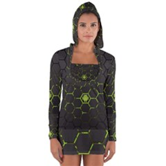 Green Android Honeycomb Gree Long Sleeve Hooded T Shirt by Sapixe