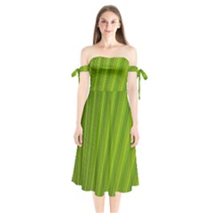 Green Leaf Pattern Plant Shoulder Tie Bardot Midi Dress