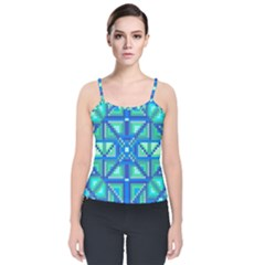 Grid Geometric Pattern Colorful Velvet Spaghetti Strap Top