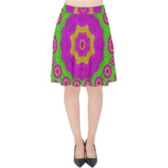Decorative Festive Bohemic Ornate Style Velvet High Waist Skirt by pepitasart