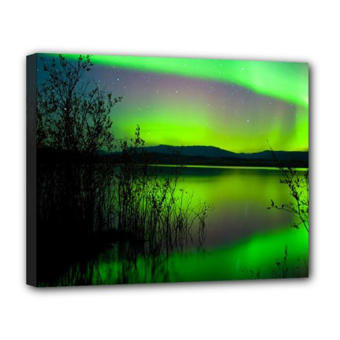 Green Northern Lights Canada Canvas 14  X 11  by Sapixe