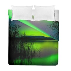 Green Northern Lights Canada Duvet Cover Double Side (full/ Double Size) by Sapixe