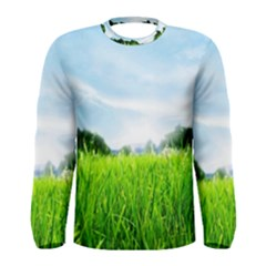 Green Landscape, Green Grass Close Up Blue Sky And White Clouds Men s Long Sleeve Tee