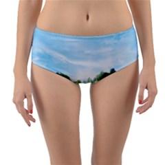 Green Landscape, Green Grass Close Up Blue Sky And White Clouds Reversible Mid Waist Bikini Bottoms