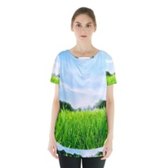 Green Landscape, Green Grass Close Up Blue Sky And White Clouds Skirt Hem Sports Top