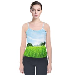 Green Landscape, Green Grass Close Up Blue Sky And White Clouds Velvet Spaghetti Strap Top