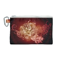 Wonderful Tiger With Flowers And Grunge Canvas Cosmetic Bag (medium) by FantasyWorld7