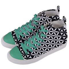 Flower Of Life Hexagon Cube 4 Women s Mid Top Canvas Sneakers by Cveti