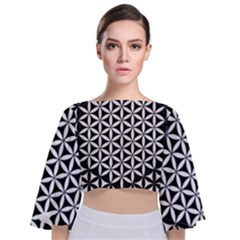 Flower Of Life Hexagon Cube 4 Tie Back Butterfly Sleeve Chiffon Top