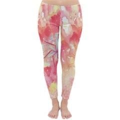 Flower Of Life Pattern Pink Classic Winter Leggings by Cveti
