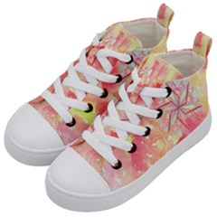 Flower Of Life Pattern Pink Kid s Mid Top Canvas Sneakers by Cveti