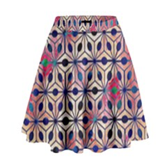 Asterisk Pattern Sacred Geometry 2 High Waist Skirt by Cveti