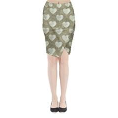 Hearts Motif Pattern Midi Wrap Pencil Skirt by dflcprints