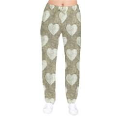 Hearts Motif Pattern Velvet Drawstring Pants by dflcprints