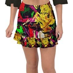 Spooky Attick 1 Fishtail Mini Chiffon Skirt