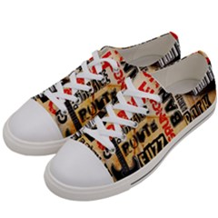 Guitar Typography Women s Low Top Canvas Sneakers by Sapixe