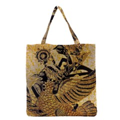 Golden Colorful The Beautiful Of Art Indonesian Batik Pattern Grocery Tote Bag by Sapixe