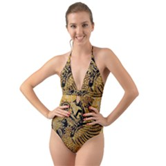 Golden Colorful The Beautiful Of Art Indonesian Batik Pattern Halter Cut Out One Piece Swimsuit by Sapixe