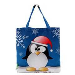 Happy Holidays Christmas Card With Penguin Grocery Tote Bag by Sapixe