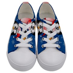 Happy Holidays Christmas Card With Penguin Kids  Low Top Canvas Sneakers