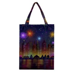 Happy Birthday Independence Day Celebration In New York City Night Fireworks Us Classic Tote Bag by Sapixe