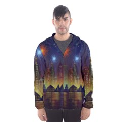 Happy Birthday Independence Day Celebration In New York City Night Fireworks Us Hooded Wind Breaker (men) by Sapixe