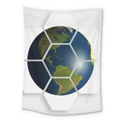 Hexagon Diamond Earth Globe Medium Tapestry by Sapixe