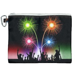 Happy New Year 2017 Celebration Animated 3d Canvas Cosmetic Bag (xxl) by Sapixe