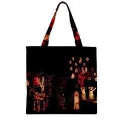 Holiday Lights Christmas Yard Decorations Zipper Grocery Tote Bag by Sapixe