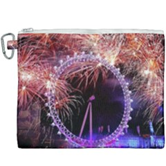 Happy New Year Clock Time Fireworks Pictures Canvas Cosmetic Bag (xxxl) by Sapixe