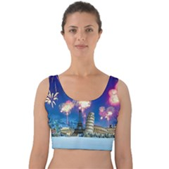 Happy New Year Celebration Of The New Year Landmarks Of The Most Famous Cities Around The World Fire Velvet Crop Top