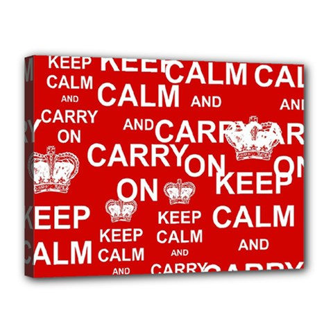 Keep Calm And Carry On Canvas 16  X 12  by Sapixe