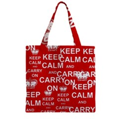 Keep Calm And Carry On Zipper Grocery Tote Bag by Sapixe