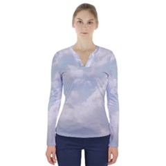 Light Nature Sky Sunny Clouds V Neck Long Sleeve Top by Sapixe