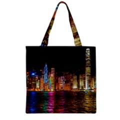 Light Water Cityscapes Night Multicolor Hong Kong Nightlights Grocery Tote Bag by Sapixe