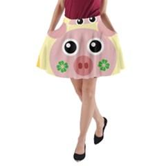 Luck Lucky Pig Pig Lucky Charm A Line Pocket Skirt by Sapixe