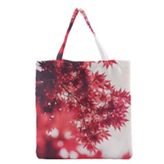Maple Leaves Red Autumn Fall Grocery Tote Bag by Sapixe