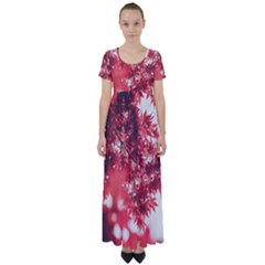 Maple Leaves Red Autumn Fall High Waist Short Sleeve Maxi Dress