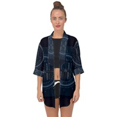 Minimalistic Knowledge Mathematics Trigonometry Open Front Chiffon Kimono