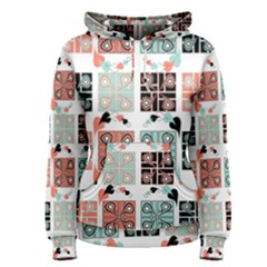 Mint Black Coral Heart Paisley Women s Pullover Hoodie by Sapixe