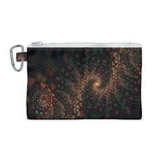 Multicolor Fractals Digital Art Design Canvas Cosmetic Bag (medium) by Sapixe