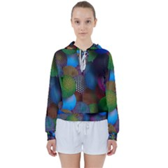 Multicolored Patterned Spheres 3d Women s Tie Up Sweat